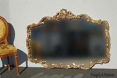 Vintage French Provincial Louis XVI Rococo Ornate Gold Wall Mantle Mirror