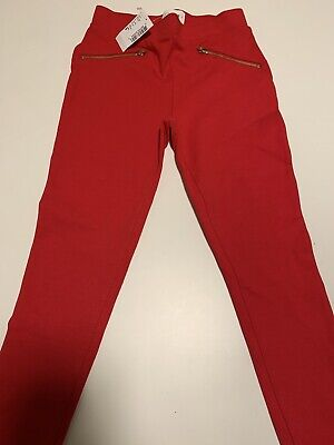 NWT Childrens Place Girls Red Leggings Size 8 Gold Zippers