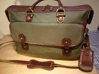 Hartmann  Brown Leather Carry On Overnight Travel Luggage Duffle Bag ,Tone Color