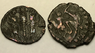 Ancient Auth. 2 Rare$ Roman Coins; 307 - 361 Ad.; Spearing, & 2 Legion Soldiers