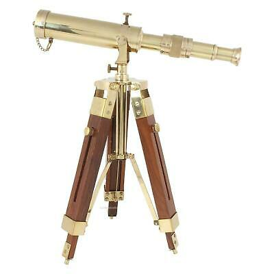 Vintage Brass Desktop Nautical Maritime TELESCOPE With Wooden Tripod Stand Gift