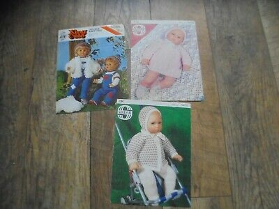 Vintage Sirdar King Cole For 20 - 22 Inch Dolls Clothes Knitting Patterns