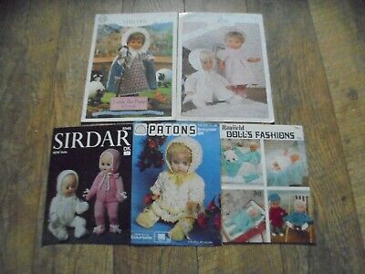 Vintage Sirdar King Cole Hayfeild Patons Dolls Clothes Knitting Patterns