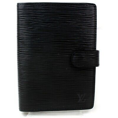 Authentic Louis Vuitton Diary Cover Agenda PM Black Epi 905767