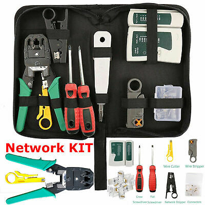 RJ45 Ethernet Cable Tester Crimper Stripper Cutter Punch Down Tool Network Kit