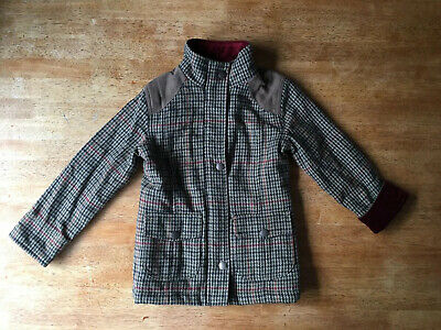Girls Crew Clothing Tweed Country Coat Jacket Age 6 Fleece & Quilted Lining