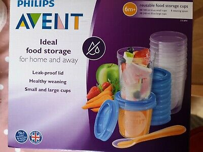 Philips Avent Baby Food Storage Cups, Blue, 180/240 ml, Pack of 20 - SCF721/20