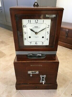 National Time Recorder 1940s/50s. Industrial factory Clocking-in machine (Bham)