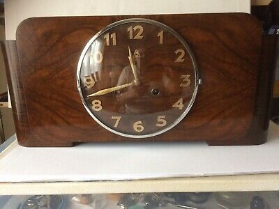 Art deco Junghans Ting Tang Chime 8 Day Mantel Clock In  walnut Superb