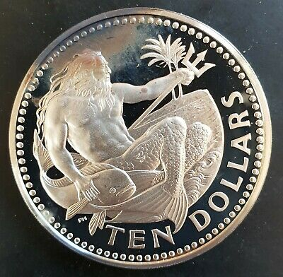 1973 Barbados 10 Dollars Neptune $10 Silver Proof Coin UNC...