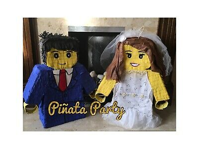 Bride and Groom Lego Handcrafted Inspired Piñata Wedding Hen Party Games Smash