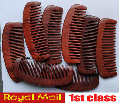 1 X Handmade Wooden Wide Moon Comb Red Natural Wood Massage Beauty Hair
