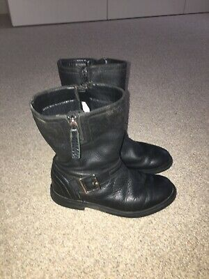Clarks Girls Childs Black Leather Zipped Boots Shoes Size 12.5 F