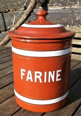 antique enamelled kitchen canister,flour,farine, French,red, kitchen storage tin