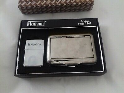 hadson petrol lighter & tobacco tin gift set for grandad engraved with bampa