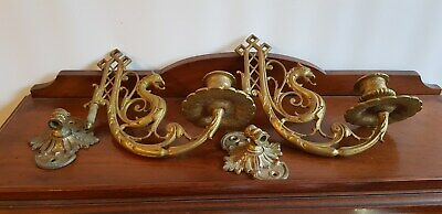 Pair Of 2 Antique Ornate Gilt Sea Serpent Piano Candle Holders Wall Sconces