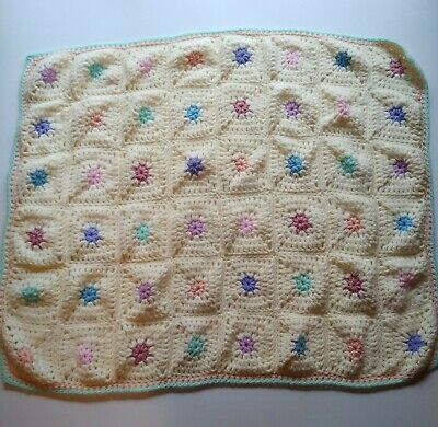 Cream Muti Color Crochet Knit Baby Throw Blanket