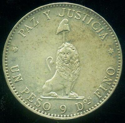 Paraguay Silver Crown Size Coin One Peso 1889 Minted In Argentina Au Condition