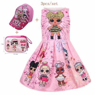 Girls Lol Doll Princess Party Dress Cute Childrens Clothes Summer Sleeveless NEW