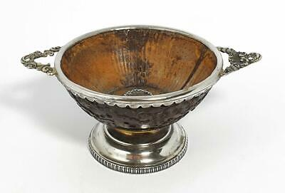 Fine VICTORIAN SILVER MOUNTED CHINESE CARVED COCONUT BOWL c1840