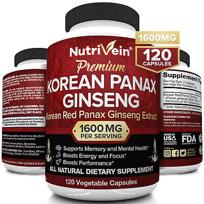 Nutrivein Korean Red Panax Ginseng 1600mg - 120 Caps - High Strength Ginsenoside