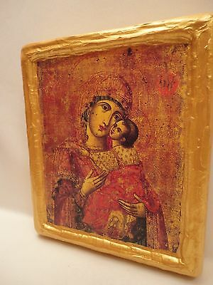 Virgin Mary Jesus Christ Rare Greek Eastern Orthodox Icon Art on Aged Wood