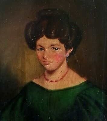 19Th Century Oil On Panel - Portrait Of A Lady - Framed Antique Painting