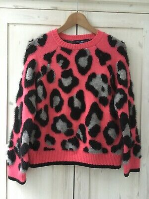 M&S Leopard Animal Print Fluffy Jumper S 8 10 Pink Black Grey Sweatshirt Seeater