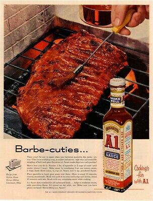 A1 IS SIZZL-ICIOUS 1955 A-1 STEAK SAUCE Vintage Look REPLICA METAL SIGN