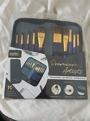 Script Professional Artist Brushes - Watercolour With Zip Up Case