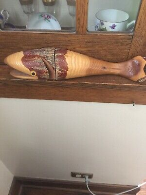 Vintage Rustic Wooden Carved Fish 3 Fish