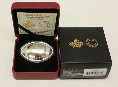 2017 $25 Football Shaped & Curved Coin .9999 Fine Silver 1 oz Proof Canada