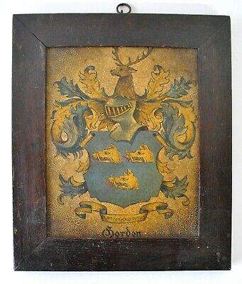 Antique Oil On Board - Gordon Coat Of Arms - Framed Armorial Painting