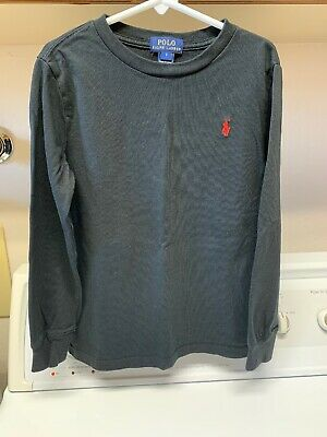 POLO Jeans ralph Lauren Boys Size 7 Long Sleeved Black T Shirt Pullover Red Pony