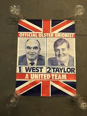 Rare Harry West & John Taylor Ulster Unionist Election Political Poster 1970's