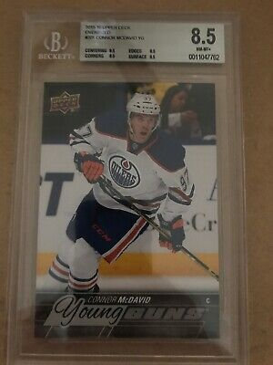 OVERSIZED 2015-16 Upper Deck Young Guns #201 Connor McDavid RC Rookie BGS 8.5