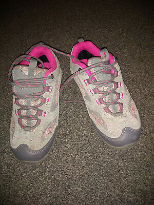 peter storm size 1 girls grey walking trainers with pink trim; excellent cond