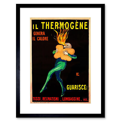 Ad Thermogene Medicine Cough Pain Illness Heat Clown Fire Framed Wall Art Print