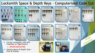 Depth and Space Keys / Locksmith Sets - ALL Computerized Code Cut - Free Ship