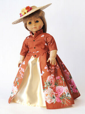 "Doll Clothes 18"" Dress Peonies Hat Carpatina Original Fits American Girl Dolls"