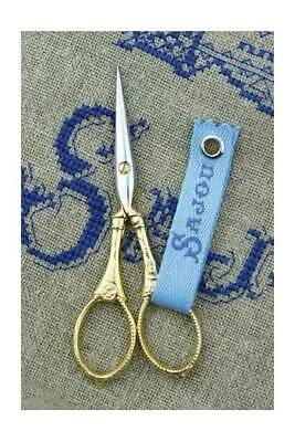 """Embroidery Scissors Sajou LANGRES Gilded GOLD FRENCH 4""""  w/ Box"""