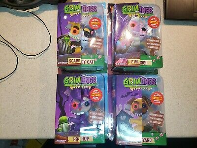 Brand New Fingerlings Grimlings Complete Collection All 4 Bunny Cat Pug Unicorn