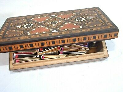 Antique Wooden Inlaid Cigar Box w Matches  Collection 20's  Vintage Estate