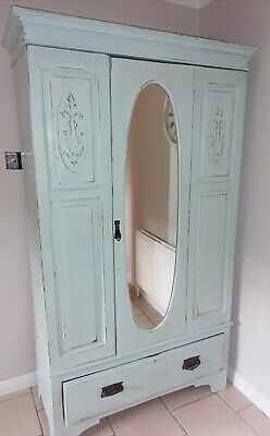 A Lovely Antique Duck Egg Blue Shabby Chic Mirrored Wardrobe