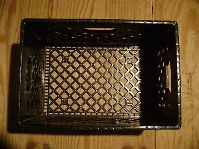 1 Plastic Black Milk Crate Basket Stackable Book Storage Home Garden