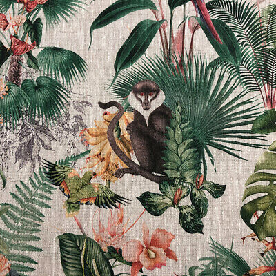 Patagonian Jungle French 100% Linen Monkey Parrot Fabric | Curtains Upholstery