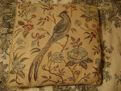 Riverdale Decrative Products Needlepoint Pillow Bird Flowers 16 x 16 Inches
