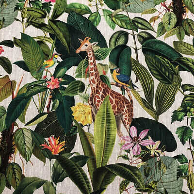 Exotic Giraffe 100% French Linen Parrot Monkey Style Fabric |Curtain Upholstery