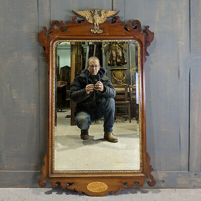 Late 19th Century American Empire Style Mahogany Framed Mirror with Eagle
