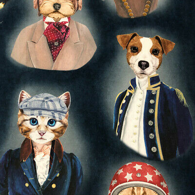 The Pooch & Tabby 100% French Cotton Fabric | Watercolour | Curtain Upholstery